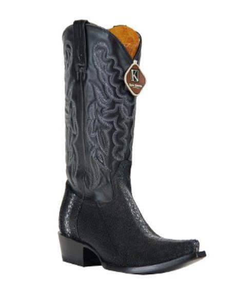 King Exotic Boots Genuine Full Rowtone Stingray skin Liquid Jet Black