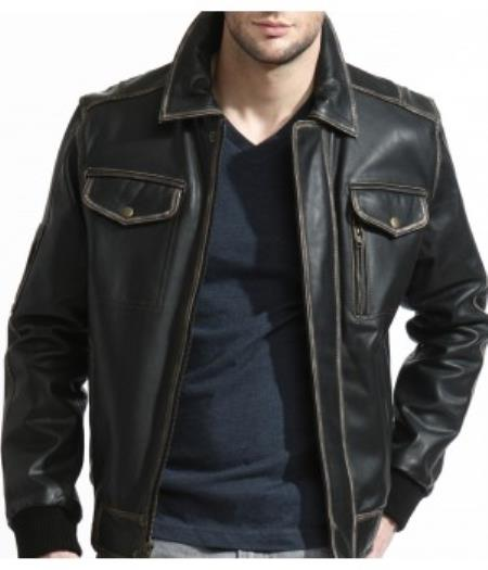 Slim narrow Style Distressed Leather Bomber Jacket Liquid Jet Black Available in Big and Tall Sizes