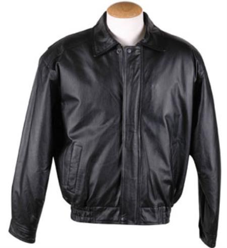 Product# RM1641Removable Liner Basic Leather Bomber Ja cket Black Available in Big and Tall Sizes