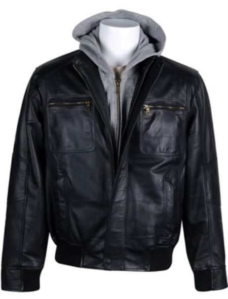 Product# RM1650 Leather Bomber with Removable Hood Black Available in Big and Tall Sizes