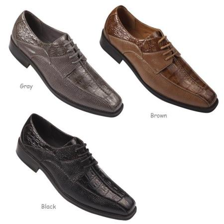 Product#PN84 Faux Embossed Leather Formal Dress Shoes for Online Black,brown color shade And Gray