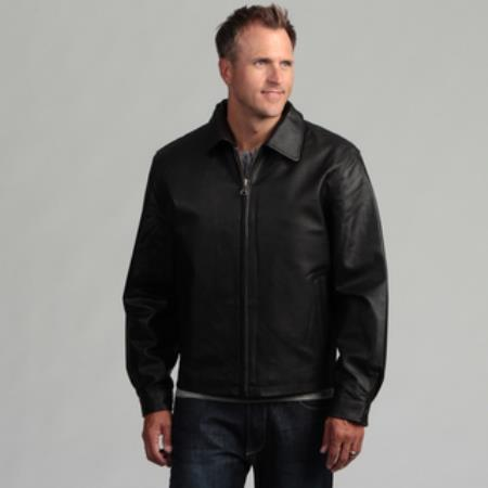Pig Napa Leather Jacket Liquid Jet Black Available in Big and Tall Sizes