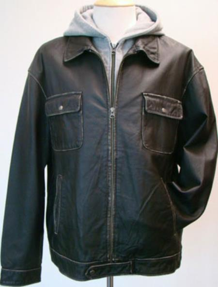 Product# RM1648 Removable Fleece Hood And Washed Leather Zip Jacket Black Available in Big and Tall Sizes