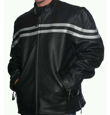 Men's Black Classic Snap Closure Leather Collar Front Zipper Jacket Available in Big and Tall Sizes