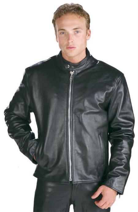 Liquid Jet Black High Grade Motorcycle Racer Leather Jacket Liquid Jet Black Available in Big and Tall Sizes