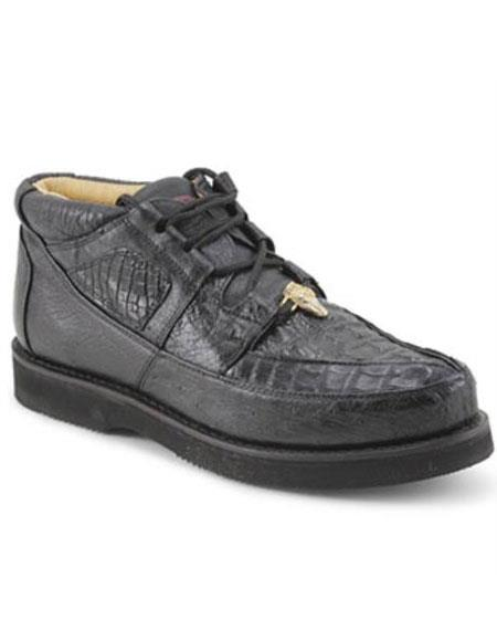 Product# MK867 Authentic Los altos Genuine Cai & Ostrich Padded Collar Liquid Jet Black Shoes for Online