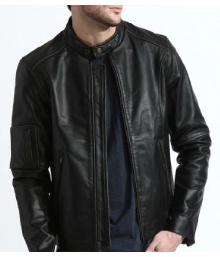 Product# PN86 The Classic Distressed Moto Jacket In 100% Genuine Cowhide Leather Available in Big and Tall Sizes