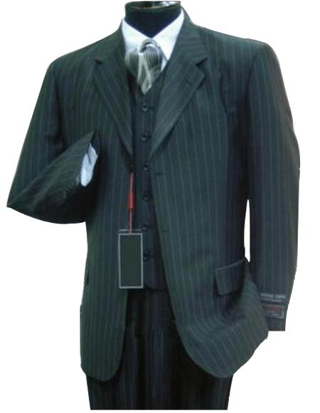 Luxurious #MU3B Liquid Jet Black & Smoth Conservative Pinstripe Jacket + Pants + Vest Vested Business Suits for Online Double Side Vent Available in 2 Buttons Style only