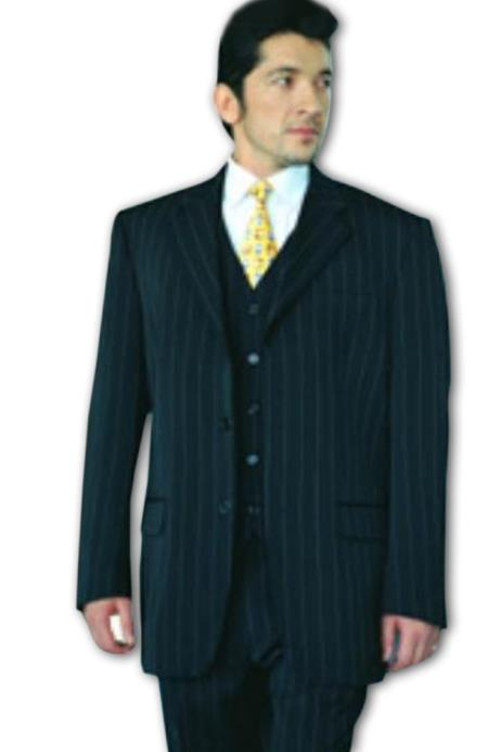 Product# C765 Power Liquid Jet Black Pinstripe Superior Fabric 120's Wool Fabric Feel Extra Fine Poly~Rayon Available in 2 Buttons Style only