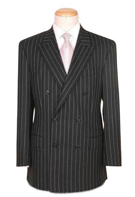 Top Quality Superior Fabric Soft Liquid Jet Black Pinstripe Double Breasted Peack Lapel Pleated Slacks Pants Vented
