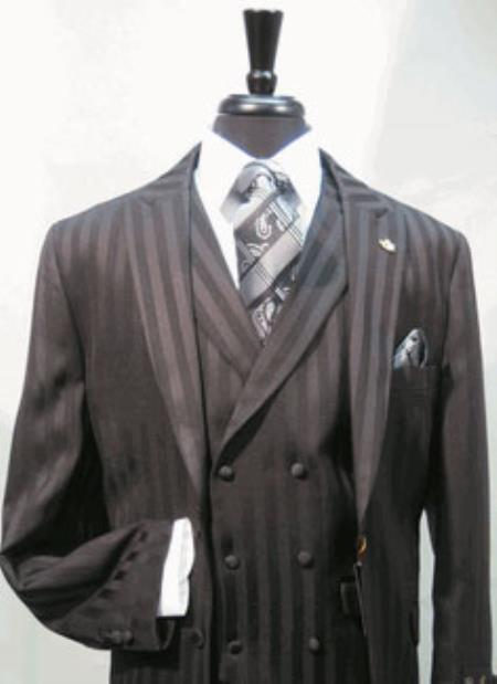 Product# AC-752 Suit Single Breasted Two Covered Button Suit Jacket with Peaked Lapel with A Double Breasted Three Button Label Vest In sophisticated 1/2 Satin Stripe ~ Pinstripe Fabric Black