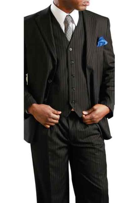 Liquid Jet Black Big & Tall 3 Piece Notch Lapel Executive Pinstripe Suit