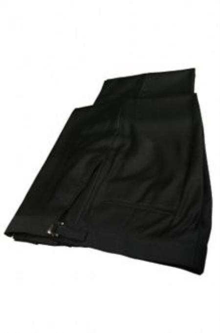 Product# QY49L Superior Fabric 150s Plain Front Liquid Jet Black Tuxedo Pants
