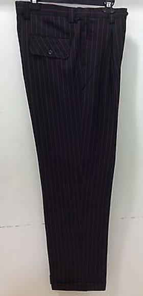 Men's Black/Red Wide Leg Dress Slacks Stripe ~ Pinstripe 1920s 40s Fashion Clothing Look !