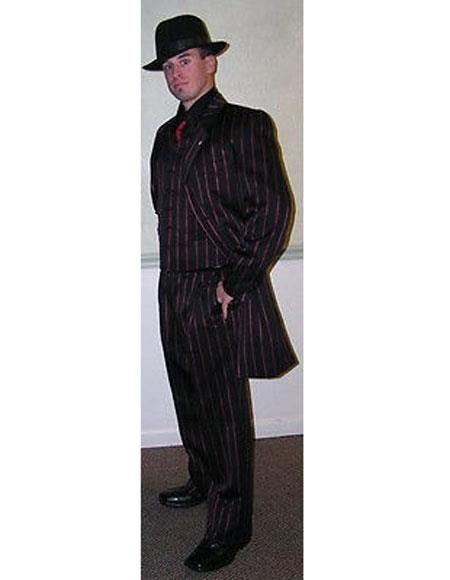 men's Single Breasted Black with red stripe Zoot Suit For sale ~ Pachuco men's Suit Perfect for Wedding