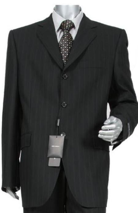 Liquid Jet Black Shadow Pinstripe Superior Fabric 140's Wool Fabric Real Authentic Mini Pinstripe Pleated Slacks Pants