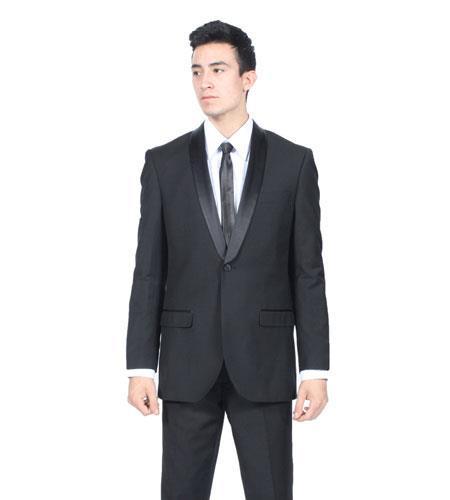 All Liquid Jet Black Shawl Collar Slim narrow Style Fit 2 Piece Tuxedo Suit Clearance Sale Online