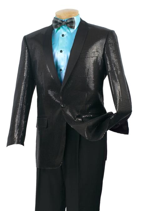 Product# 65VS Satin Unique Shiny Fashion Prom Luxurious Wool Fabric Feel Sport Coat – Sequins Liquid Jet Black