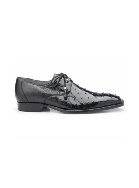 Authentic Belvedere Exotic Skin Brand Genuine Ostrich Leather Lining Plain toe Black Shoe