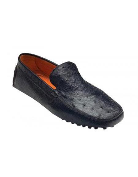 Tom Liquid Jet Black Genuine Ostrich / Calf Shoes for Online Vestigium Driving Shoes for Online slip on loafers for