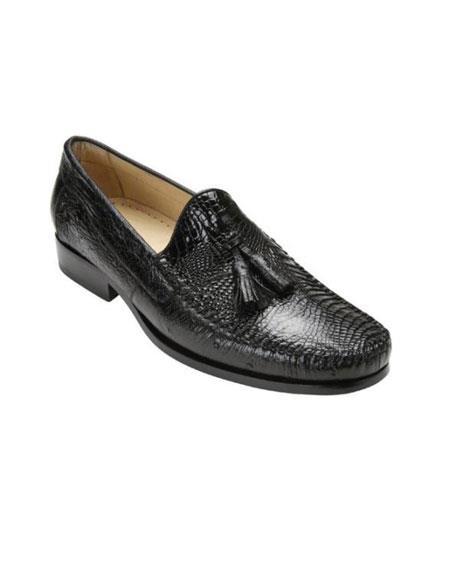 Belvedere attire brand Bari Liquid Jet Black Genuine Alligator skin and Ostrich Skin loafer slip on shoe Shoes for Online With Tassels