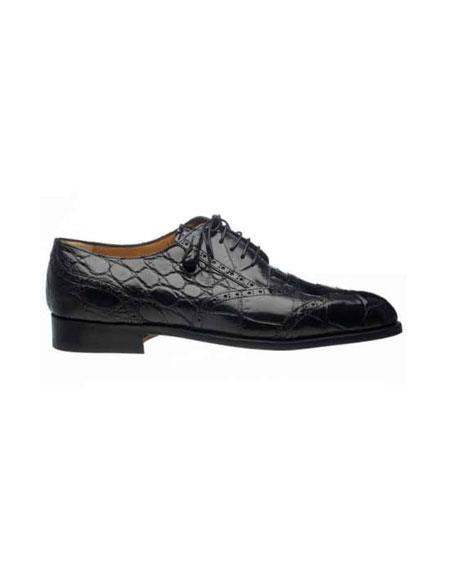 Ferrini Liquid Jet Black Wing Tip Italian Lace Up Style Alligator skin Belly Skin Shoes