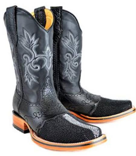 Product# MK996 King Exotic Rodeo Full Pearl Stingray skin Boot Liquid Jet Black