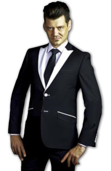Tapered Leg Lower rise Pants & Get skinny Two Button Liquid Jet Black Slim narrow Style Fit Suit With White Peak Lapel