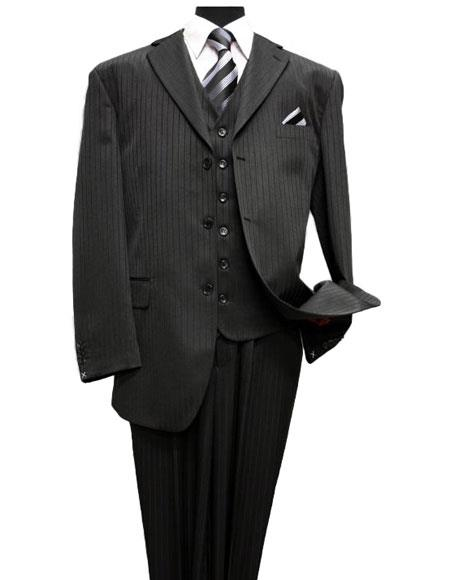 Liquid Jet Black Classic 3PC 3 Button Style Tone On Tone Stripe three piece suit