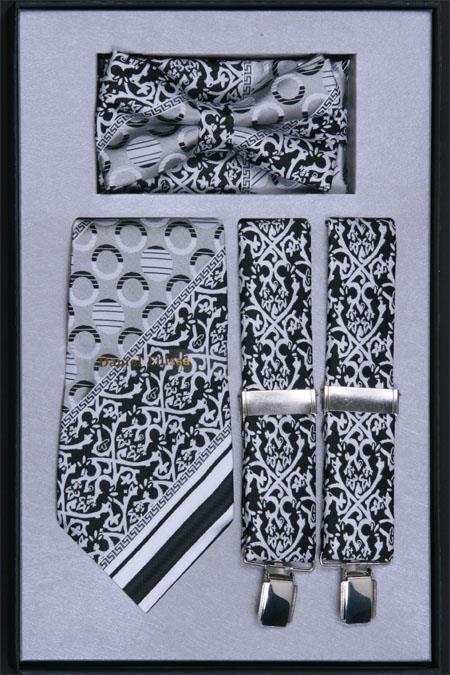 Product# HN94 Suspender, Tie, Bow Tie ~ Bowtie and Hanky Set Liquid Jet Black