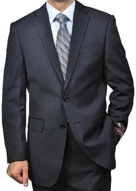 Liquid Jet Black Tonal Pinstripe 2-button Suit