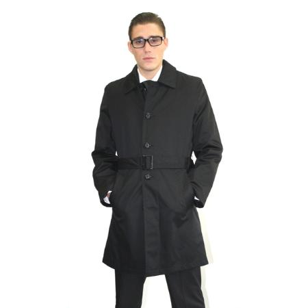 Product# MAB38 Liquid Jet Black Belted Trench Coat