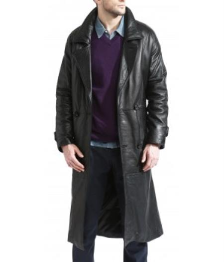 Product# PN70 Trench Coat Liquid Jet Black Available in Big and Tall Sizes
