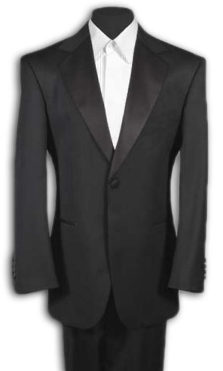 Product# BWTX9 Men'sProduct# LL2 Liquid Jet Black Tuxedo 1 One Button Notch Tuxedo Suit