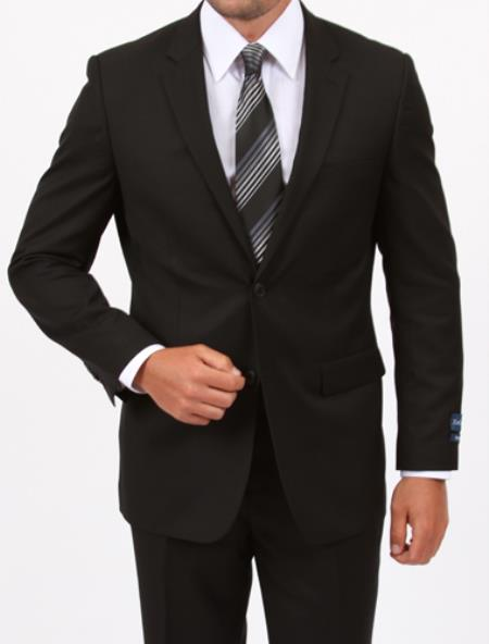 Product# KA5932 Reg Price $795 ZeGarie Authentic 100% Wool Fabric Suit 2 Button Style Side Vent Jacket Flat Front Pants Wool Fabric Classic Liquid Jet Black