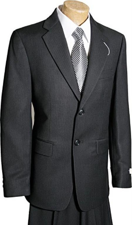 2 Button Style Liquid Jet Black Pinstripe Boy Designer Suits For Teenagers