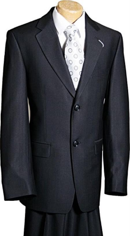 Product# KA9118 2 Button Style Liquid Jet Black 'Ultra Thin Pinstripe' Kids Boys Designer Suits For Teenagers
