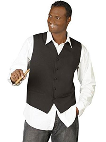 Product# JSM-166 Men's 5 Button Black V-Neck Tailored Down Dress Tuxedo Wedding Vest