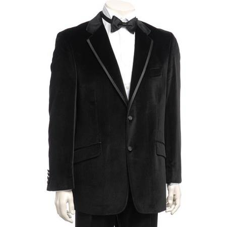 Product# KA8755 Liquid Jet Black Tie Velvet Dinner Jacket