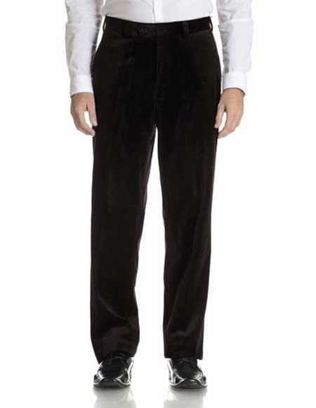 Product# JSM-1107 Men's Modern Fit Velvet Black Fabric Flat Front Pant