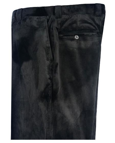 Product# SS-8457 Liquid Jet Black Velvet Pants Flat Front