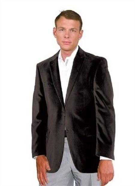 Product# PN_G51 Velour Velvet Blazer Online Sale Sport Jacket For Liquid Jet Black