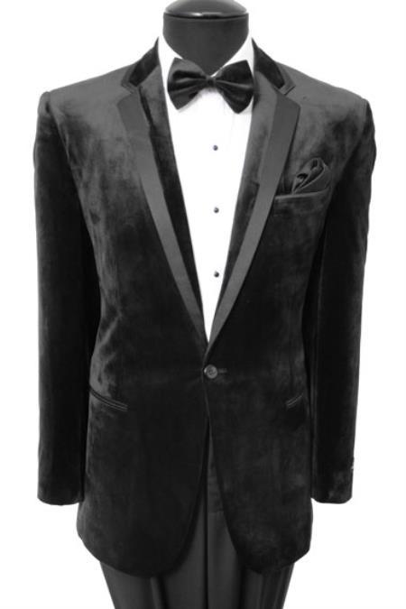 Velvet Velour Blazer Online Sale Sport Coat Two Button formal tux Jacket With Liquid Jet Black Trim Liquid Jet Black