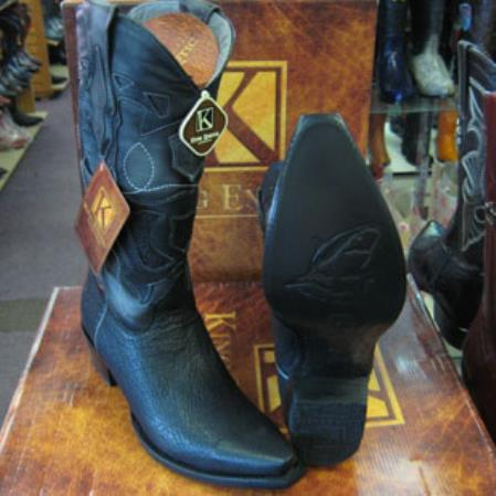 King Exotic Boots Snip Toe Genuine Shark Western Cowboy Liquid Jet Black Boot