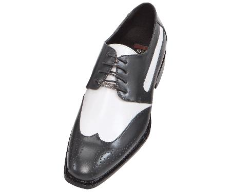 Product# MMA42 Dark Grey Masculine color Gray-Silver Two Tone Dress Mens Shoes Oxford: Wingtip