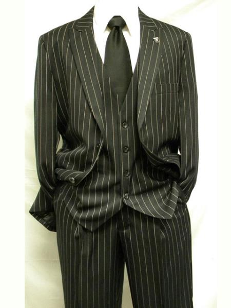 Liquid Jet Black and White Gangster pronounce visible PinStripe Stripe Vested 2 Buttons 3 Piece Fashion Athletic Cut 1940s men's Suits Style Classic Fit  Slacks Pant
