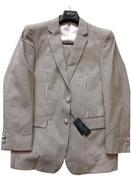 Seersucker Suit mens Black/White Modern Fit Striped Cotton Blend seersucker suit Flat Front Pants
