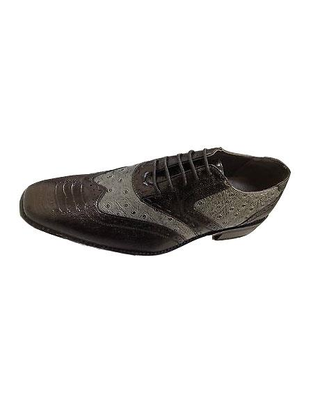 Product#KA6581 Black/Gray Wing-tip Design Dress Shoes for Online Ostrich Print Size