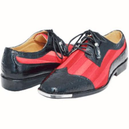 Product#WVS77 Dress Shoes for Online Stylish Spectator Style Cool red color shade & Liquid Jet Black 2 Tone