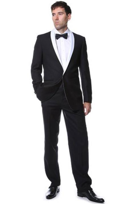 Product# MK588 Ferrecci Premium Liquid Jet Black With White Shawl Collar Tuxedo Blazer Online Sale Jacket Clearance Sale Online